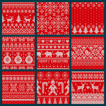Christmas embroidery seamless knitted pattern set vector. Spruce evergreen tree symbol, reindeer with horns and decorative baubles print ornaments