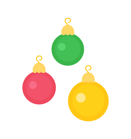 New Year decorative toys on Christmas tree. Round balls with hanging elements isolated on white. Vector Xmas decorations in pink, green and yellow color Illustration