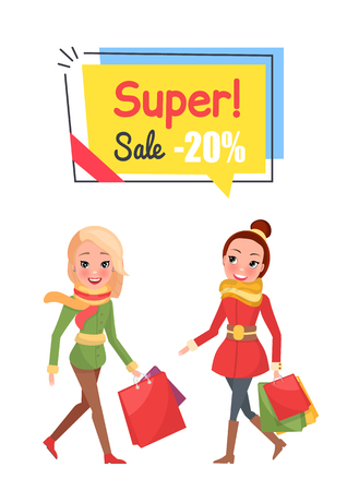 Super sale twenty percent off price shopping banner vector. Woman happy of buying cheap products, presents packages reduction of cost on Christmas gifts