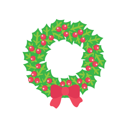 Christmas wreath with holly red berries and bow. Vector isolated clipart of holly maple with red berries and bowknot on it. Mistletoe wreath, door decor Vector Illustration