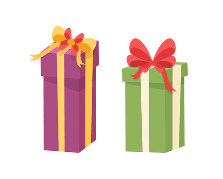 Christmas presents wrapped in gift boxes. Vector packages in decorative paper, shopping packs with surprise inside, purple and green containers with bow Illustration