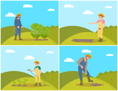 Farmer planting seeds on soil. Man spraying bushes with chemical liquids against insects set. Watering hose in womans hand, male digging ground vector Stock Illustratie