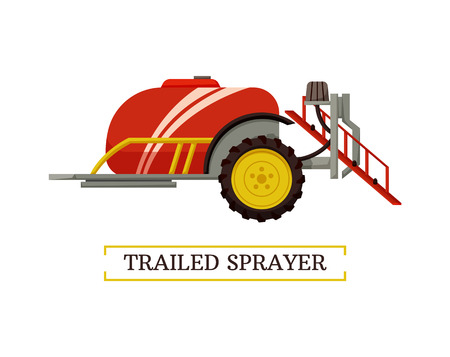 Trailed sprayer agricultural rural machinery for crops. Application of fertilizers and pesticides from container. Mechanism used in farming vector Foto de archivo - 115557210