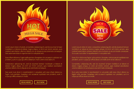 Mega sale burning labels with info about discounts, lansing pages set. Blazed signs with flame, informative web online banners with promo offers vector Ilustração
