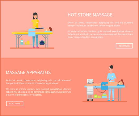Hot stone massage and special apparatus with handle for back treatment. Set of posters with text sample and masseuses using new techniques vector