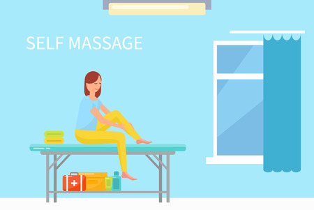 Massage self care and treatment of female in spa salon vector. Woman on table rubbing her legs with lotions and ointments to relieve pain in ankle