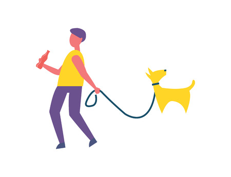 Man walking with dog in park isolated vector badge cartoon icon. Guy in casual clothes with bottle of cola, walk pet on leash, spend time outdoor