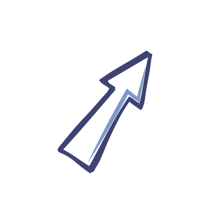 Arrow design arrowhead forward isolated icon vector. Pointer with sharp top pointing up forth. Monochrome sketch outline of symbol sign direction