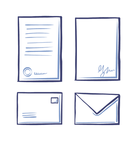Office page documents and envelopes set of monochrome sketches outline vector. Correspondence and communication on paper, letters signs and signatures Illusztráció