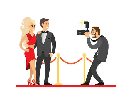 Paparazzi che scattano foto di una coppia di celebrità sul tappeto rosso. Stelle del cinema o cantanti e fotografo con illustrazione vettoriale fotocamera digitale isolato.