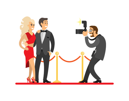 Paparazzi taking photo of celebrities couple on red carpet. Movie stars or singers and photographer with digital camera vector illustration isolated. Vettoriali