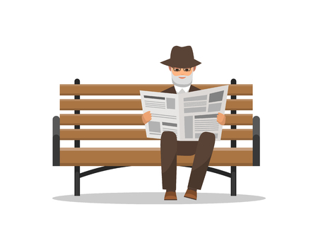 Old man reading newspaper on bench isolated elderly male relaxing alone vector. Reader wearing fashionable hat, Retired person with publication press
