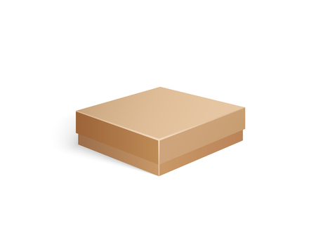 Package made of carton material, small container for products storage and transportation. Isolated icon of square shape and flat top packaging vector