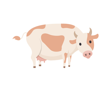 Cow emblem in simple style vector icon isolated on white. Big domestic animal, horned dairy cattle with spots on skin on back, with udder with milk 일러스트