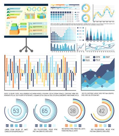 Infografiken und Schemata auf Whiteboard-Präsentationsstandvektor. Grafische Visualisierung von Informationen, Geschäftszahlen und Statistikanalyse Vektorgrafik