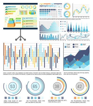 Infographics and schemes on whiteboard presentation stand vector. Graphics visualization of information, business figures and statistics analysis