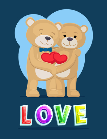 Love bears hugging heart poster with colorful fonts. Male with bow and female with deep feeling toward each other. Couple embracing happily vector