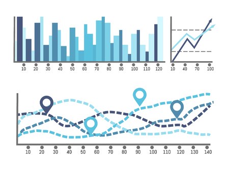 Sheme with numbers and visualised data on charts vector. Report statistic of figures, growing and falling flowchart, infographic and diagrams design Vettoriali