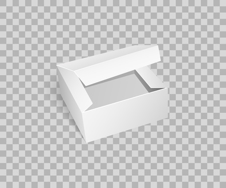 Carton box with open top, empty package isolated icon vector on transparent. Cardboard place to store items, storage and keeping goods, transportation Illustration