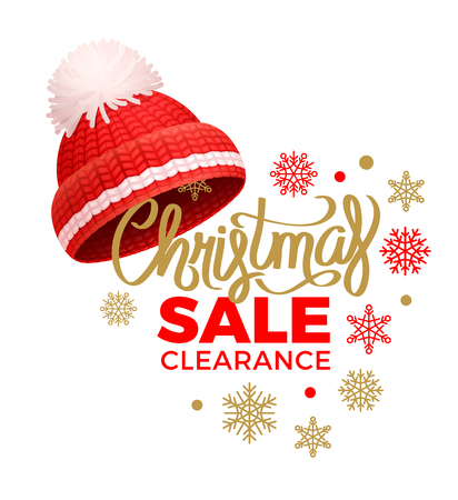 Weihnachtsverkaufsfreigabe, gestrickter roter Hut mit weißem Bommelvektor. Warme Kopfbedeckung, Wintertuch dickes Wollgarn, handgestrickter Kopfschmuck Vektorgrafik