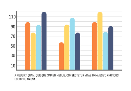Infographic comparing data results with scales and text sample vector. Scheme with numbers, numeric data. Statistic in visual form, graphic lines