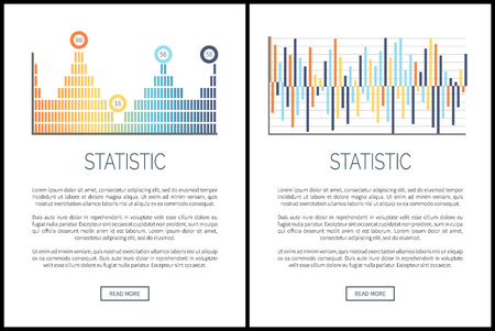 Statistic web pages, diagrams and info charts vector. Information given in scheme, text sample explaining notions. Graphics and infographics graphs Illusztráció