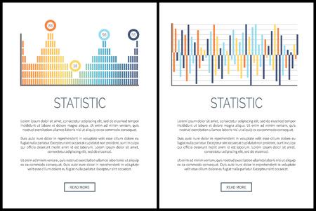 Statistiek webpagina's, diagrammen en info grafieken vector. Informatie gegeven in schema, tekstvoorbeeld met uitleg over begrippen. Grafische en infographicsgrafieken