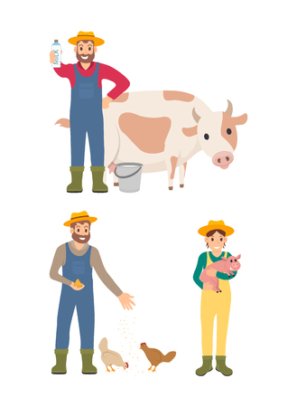 Farmer with milk and cow animal icons set vector. Man feeding chickens hens and woman holding piglet, porky pig. Farming people caring for livestock Çizim
