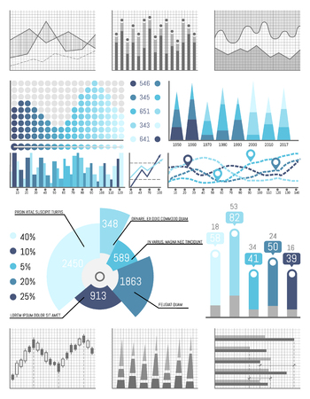 Business data flowcharts visual info presentation vector. Strategy planning, results of investigation, detailed explanation of graphs and infographics