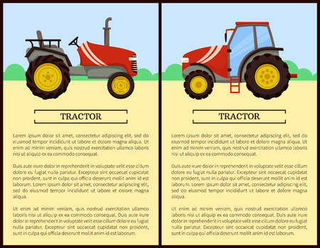 Tractor agricultural machine posters set. Vehicles with big wheels on land plowing. Agronomy and husbandry devices and mechanical automobiles vector