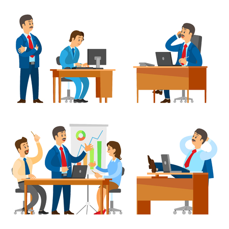 Boss on seminar with workers, meeting of people vector. Supervisor looking at working process of novice by computer. Break of director, business call Çizim