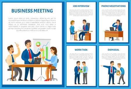 Business Meeting and Dismissal of Workers Set Illustration