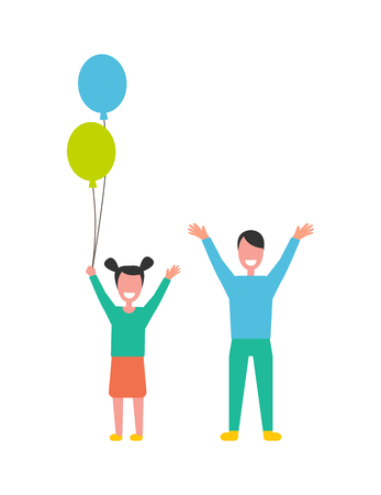 Happy children boy and girl rising hands up vector illustration cartoon characters isolated on white. Daughter with balloons and smiling son together