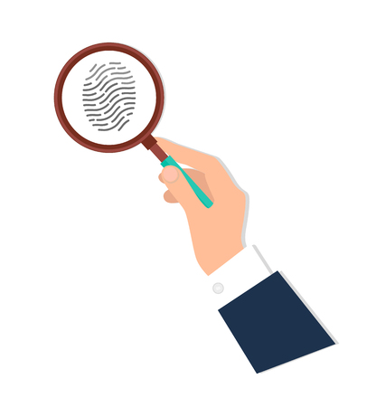 Investigation of thumb prints by magnification loupe. Personal identity sign, detective research concept. Fingerprint in magnifying glass vector icon isolated.