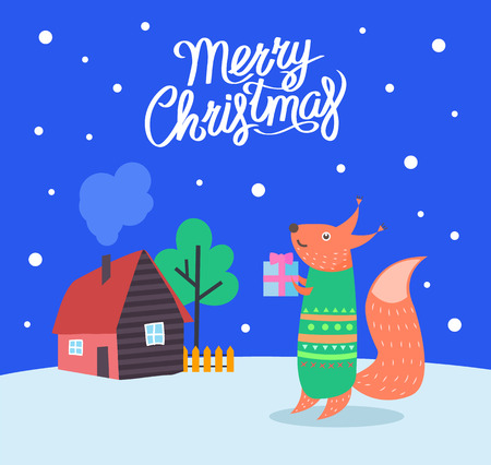 Merry Christmas fox with present poster with greeting celebration text vector. Animal wearing sweater walking by home of people. Winter season holiday