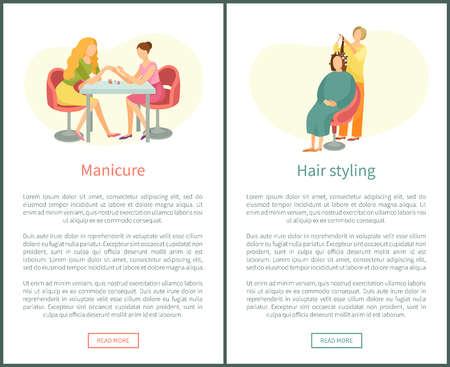Manicure hand treatment and hair styling, nails polishing in spa salon vector web posters. Manicurist and hairdresser, client in chair, beautician