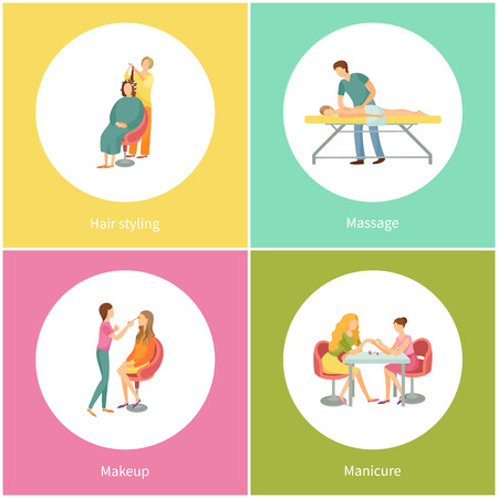 Hair styling and massage masseur wearing uniform vector. Manicure expert with client, visage and makeup by visagiste. Haircuts and body rub procedure Illustration