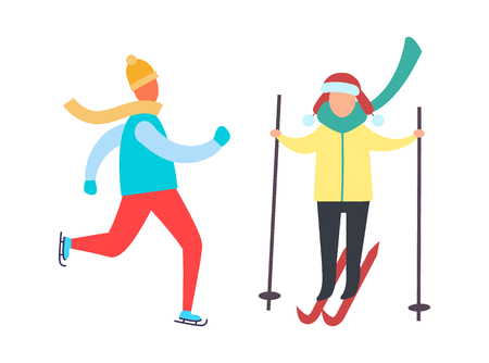 Child skiing with sticks in hands and skating winter sport activities isolated vector. Person in warm clothes goes ski running. Kids recreation at cold weather Ilustração