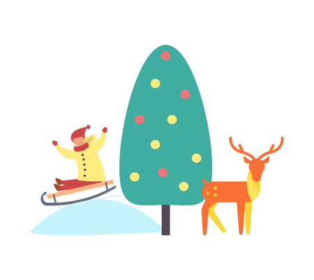 Christmas tree reindeer kid on slope vector. Evergreen pine decorated with balls and garlands toys. Animal and kid sitting on sledges riding downhill