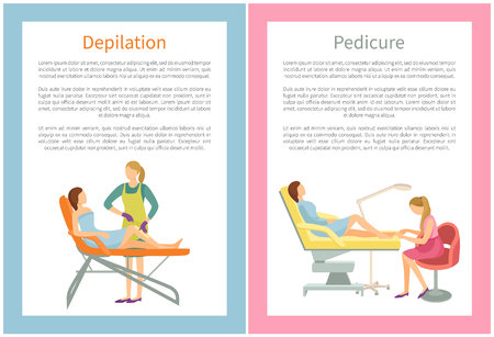 Depilation and Pedicure Posters Text Set Vector Archivio Fotografico - 115950080