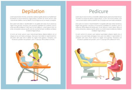 Poster di depilazione e pedicure Set di testo Vector