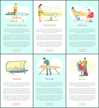 Chocolate body spa and tanning posters set with text sample vector. Pedicure and barber trimming man beard. Massage procedure of masseur pedicurist