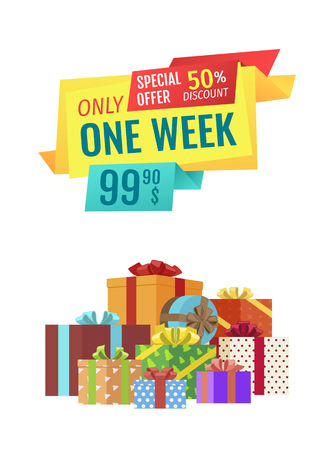 Only one week special discount sales. Poster with gifts in boxes wrapped with paper with polka dot pattern and decorated by bows. Promotion vector