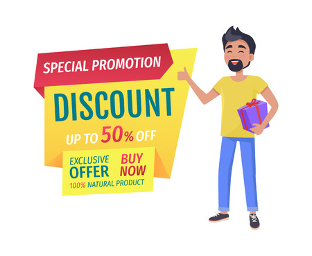 Special promotion and half-price discount for customers banner. Exclusive offer to buy now natural products promo poster with happy guy holds gift. Çizim