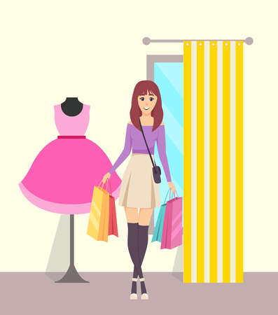 Female shopaholic with paper bags in store vector. Woman bought clothes in shop, walking from changing room with curtain. Dress on mannequin showcase