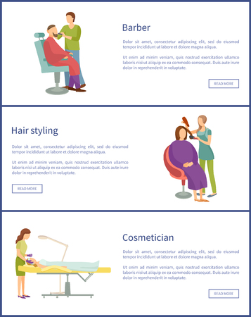Hair styling and barber service posters set with text sample vector. Relaxing people in chair of hairdresser cosmetician. Facial treatment skincare Ilustrace