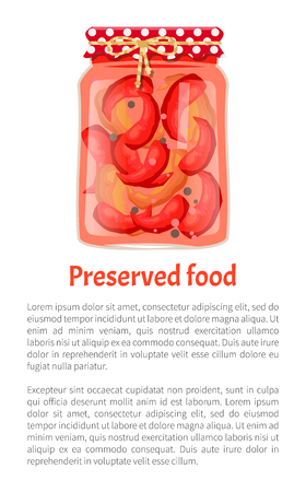 Preserved food poster home cooked pickled red pepper in glass jar decorated in rustic style. Conserved chilli vector illustration isolated, text sample