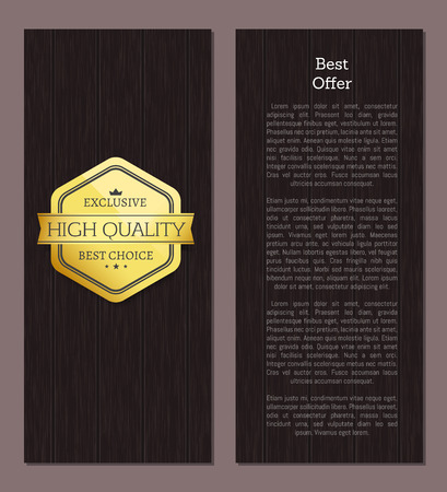 Exclusive high quality poster with emblem assuring of high leveled production. Certified best offers. Warranty brand isolated on vector illustration Reklamní fotografie - 126008784