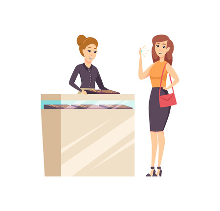 Female in jewelry store with consultant vector. Woman trying on ring with diamond, accessory made of gold and precious stone. Seller and customer Stock Illustratie