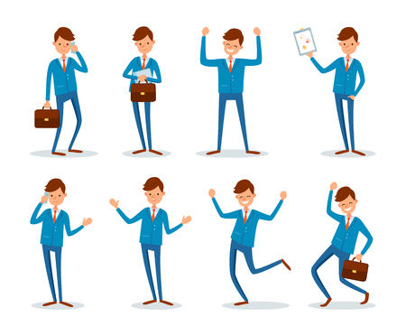 Man busy talking on phone with client people vector. Businessman presenting plan strategy of company work. Successful chief executive having good mood Ilustração